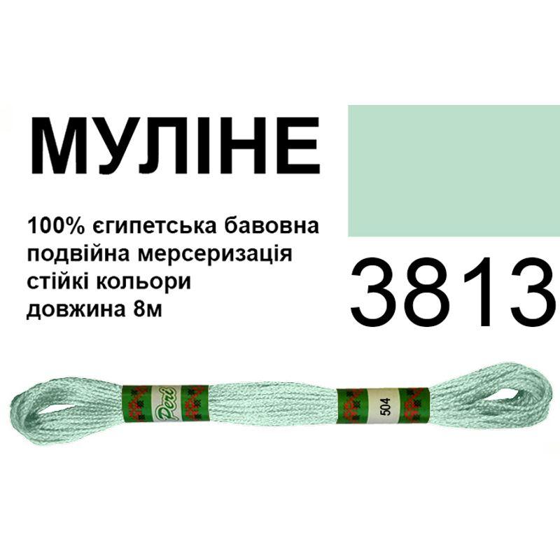 Мулине 6х2, 8м, 100% длинноволокнистый египетский хлопок, 24 мотков в упаковке, цвет 3813