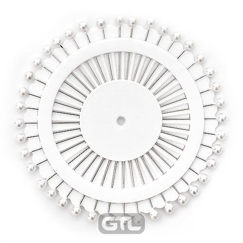 Шпильки 38мм с пластиковой головкой 4 * 4 мм, 40шт, перламутровые белья, на колесе (1шт)