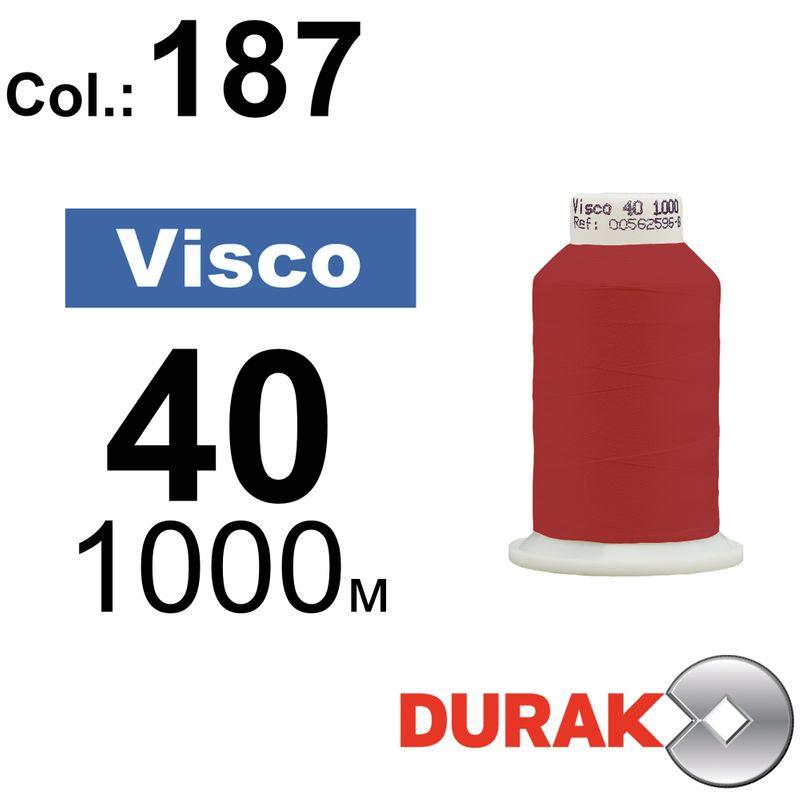 Нитки для машинной вышивки, Visco, вискоза, N40 (120D/2), длина 1000 м., цвет (187) к3