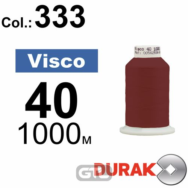 Нитки для машинной вышивки, Visco, вискоза, N40 (120D/2), длина 1000 м., цвет (333) к11