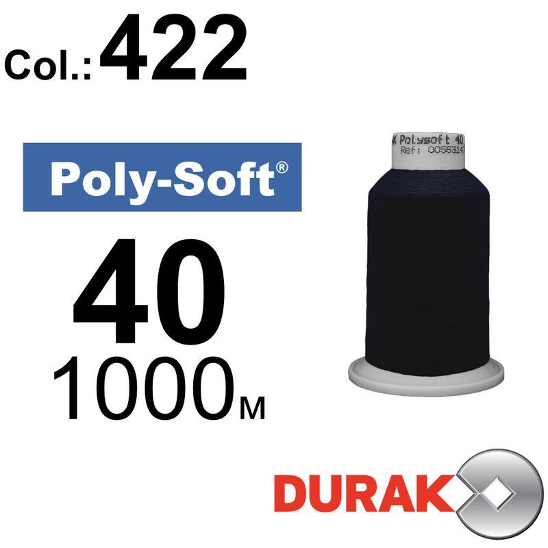 Нитки для машинної вишивки, Poly-Soft, поліестер, N40 (120D/2), довжина 1000 м., колір (422) к20