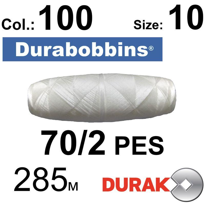 Нитки сверхпрочные, Durabobbins, полиэстер, N70 / 2 (16 tex), Size-10 длина 285м. , Цвет 01 (100) -566