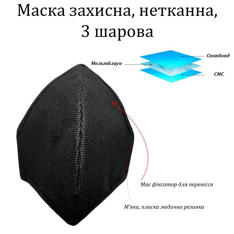 Маска-респиратор защитная, FFP3 NR, Славия-Н, 3 слоя фильтрации, ДСТУ ISO9001: 2015, черная