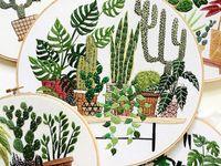 Вышитые комнатные растения