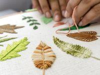 Как вышивать листья гладью?