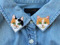 Вышивка на воротнике джинсовой рубашки